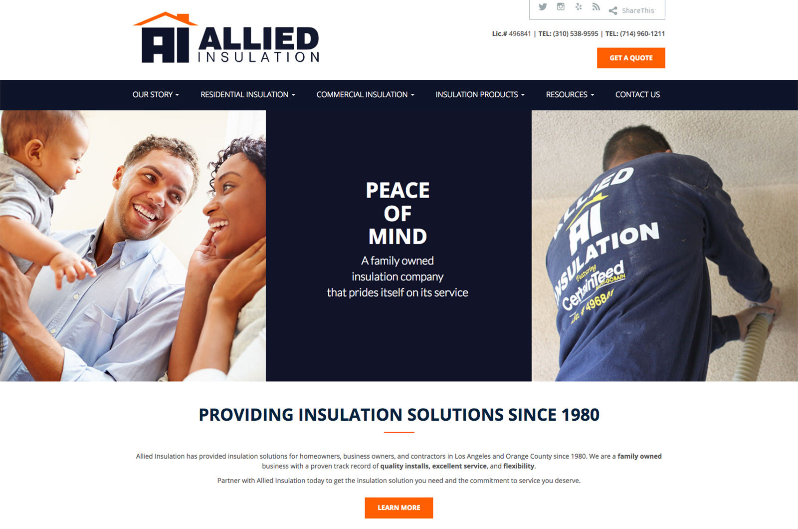 Allied Insulation Website Design